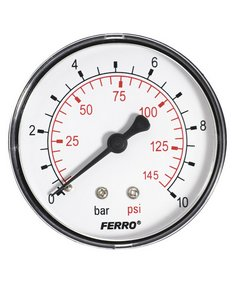 "Manometer 63mm 0-10bar 1/4"" AXIALNY /zadny/ NOVASERVIS - Priame 