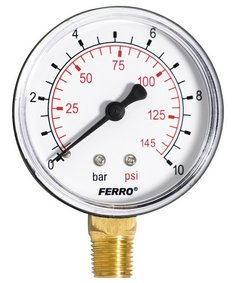 Manometer 63mm 0-10bar 1/4