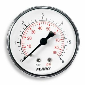 "Manometer 63mm 0-6bar 1/4"" AXIALNY /zadny/ NOVASERVIS - Priame 